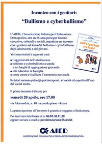 AIED Roma, incontro genitori bullismo e cyberbullismo